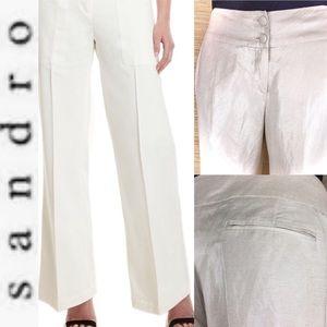 Sandro Linen Rayon Shimmering Wide Leg Trousers